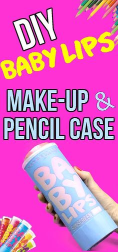 Learn how to make DIY no sew baby lips pencil case and/or makeup case. In this easy DIY craft video tutorial learn how to make DIY makeup bags & pencil cases made from recycled Pringles containers. I hope you have fun with this cool DIY craft idea.  There are so many more fun baby lips lip balm inspired pencil cases and makeup bags you could make. Choose any color Baby Lips Lip Balm-Have fun and get creative! Great DIY school supplies or DIY room decor. Perfect craft for teens and kids!