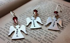 Set of Three 3 Hand Stamped Angel Ornaments With by KikisJewels, $20.00