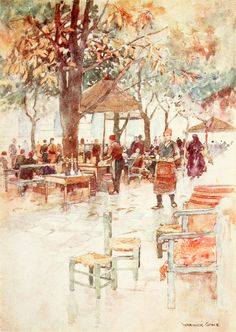 """'Open Air Café, Stamboul' from """"Constantinople painted by Warwick Goble"""" (1906)"""