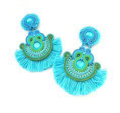 Turquoise Tassel Earrings, Long Soutache Earrings, Turquoise Gold Earrings with Flowers, Unique Handmade Earrings with fringe Turquoise Tassel Earrings, Fringe Earrings, Boho Earrings, Flower Earrings, Clip On Earrings, Statement Earrings, Crochet Earrings, Unique Earrings, Earrings Handmade