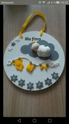 Cute Polymer Clay, Cute Clay, Polymer Clay Projects, Diy Clay, Cake Accessories, Baby Room Diy, Diy Bebe, Baby Frame, How To Make Clay