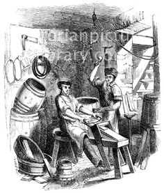 Coopering, Barrel Making. Victorian drawing of two coopers, or barrel makers, in their workshop. One man sits on a 'horse' shaping a stave with a drawing knife; the other fixes the hoops. The quality of this image, though acceptable, is not perfect, as it was scanned from an early (1858), small original. Download high quality jpeg for just £5. Perfect for framing, logos, letterheads, and greetings cards.