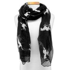 Women's Horse Print Oblong Scarf - Black