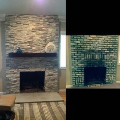 Remodeled fireplace we provided a custom mantel for. Looks a bit better don't you think? #customcornersllc #mantel #mantle #mantlepiece #rusticmantel #etsyshop #custommade #stonefireplace #transitionalstyle #custommantel #woodmantel #woodmantels #remodel #remodeling