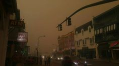 Heavy smoke in Gatlinburg before the fires hit town that night. Rhis was during the daytime in daylight