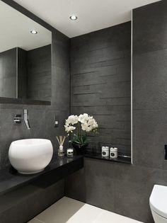 modern bathroom designs gray tiles black vanity white sink wall mirror