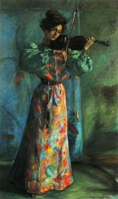 The Violinist (1900). Lovis Corinth (German, 1858-1925). Oil on canvas.Corinth's rise to fame in Berlin was closely linked to the growing importance of the Berlin Secession as the strongest and most influential artists' association in Germany. Within a few years of its founding the group's exhibitions eclipsed the much larger shows at the Berlin Glass Palace by appealing to liberal and well-to-do intellectual circles receptive not only to new developments in German art but also to new…