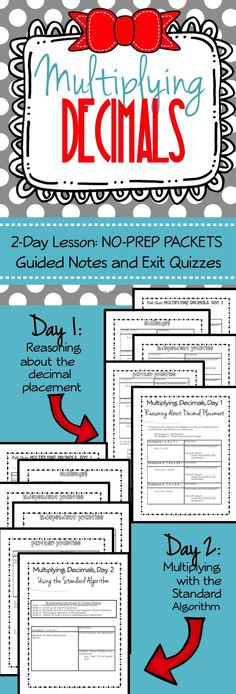 Multiplying Decimals, 5.NBT.7, Two-day lesson, no prep packets, just press print!