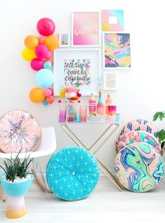 Kara Whitten is raising funds for Kailo Chic Home - Colorful Barware and Throw Pillows on Kickstarter! It's time to add a pop of color to your home with Kailo Chic and our collection of confetti barware and patterned throw pillows. My Room, Girl Room, Kids Bedroom, Bedroom Decor, Closet Bedroom, Diy Craft Projects, House Colors, Colorful Interiors, Room Inspiration