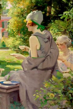 Grapefruit Moon Gallery: Tea in the Afternoon by charles edward chambers 1920s 21 x 30