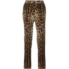 Dolce & Gabbana leopard print pyjama style pants (19.258.965 IDR) ❤ liked on Polyvore featuring pants, brown, silk trousers, dolce gabbana trousers, loose fit pants, loose pants and straight leg pants