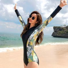 Rhyme Lady 2019 New Arrival Long Sleeve One Piece Side Printed Bathing Suit Swimsuit for Women Source by 2019 Bikini Swimwear, Swimsuits, Bikinis, Bathing Suits, Beachwear, One Piece, Clothes For Women, Long Sleeve, Printed