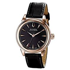 Bulova Accutron Gemini Black Dial Black Leather Mens watch 64B116 >>> Click on the image for additional details. (This is an Amazon affiliate link)