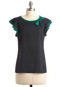 Cool and Calm Top - Mid-length, Blue, Green, Solid, Bows, Trim, Cap Sleeves, Vintage Inspired