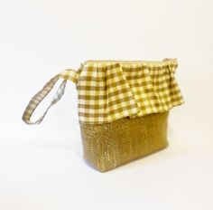 Plaid and Gold Wristlet with Ruffles by handjstarcreations on Etsy, $20.00