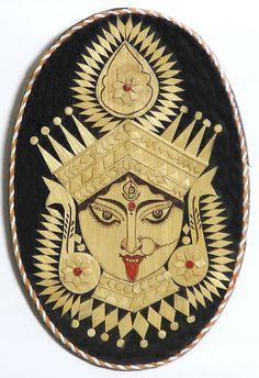 Goddess kali - Wall Hanging - Bamboo and Bead Krishna Hindu, Hanuman, Shiva, Goddess Of Destruction, Durga Painting, Kali Mata, Bamboo Art, Divine Mother, Hindu Art
