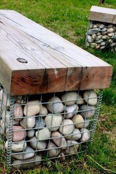 55 Best Gabion Wall Stone & Fences That Will Decorate Your Beautiful Landscape Area - Decor Units Garden Seating, Outdoor Seating, Garden Benches, Outdoor Dining, Outdoor Projects, Garden Projects, Outdoor Ideas, Back Gardens, Outdoor Gardens