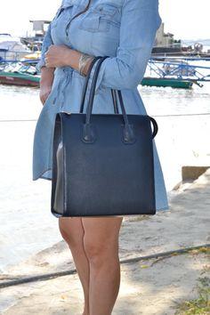 BLUE LEATHER HANDBAG, Leather Bag, Leather Tote Bag, Large Leather Handbag,  Blue Leather Purse