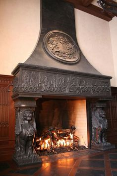 Awesome Fireplace!  A carved stone fireplace is a beautiful centerpiece to any room.