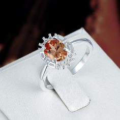 Classic Silver Plated Oval Brown Cubic Zirconia Ring for Women SPR724 4
