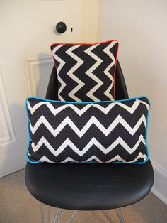 Chevron cushions with contrast neon trim Chevron, Contrast, Cushions, Neon, Interiors, Throw Pillows, Toss Pillows, Toss Pillows, Pillows