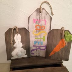 """Easter, Bunny Rabbit, Carrot Rustic Large """"Gift Tag"""" Signs Handmade from Distressed & Reclaimed Western Red Cedar Wood"""