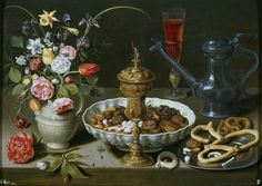 Clara Peeters - Still Life with Flowers, Goblet, Dried Fruit, and Pretzels, 1611, -Museo del Prado Madrid