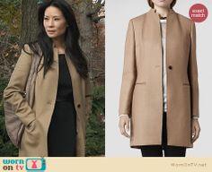 Joan Watson's long tan coat on Elementary. Outfit Details: http://wornontv.net/24165 #Elementary #fashion #AllSaints