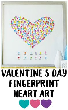 This DIY Fingerprint Art is a fun way to get the whole family involved in making a fun piece of Valentine's Day décor!