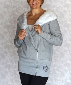 Look what I found on #zulily! Gray Monogram Zip-Up Hoodie - Women by Princess Linens Mommy & Me #zulilyfinds