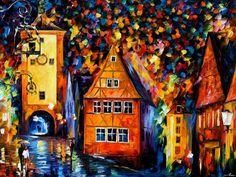 ROTHENBURG, ALEMANIA - Pintura al oleo, ORIGINAL de Leonid Afremov.