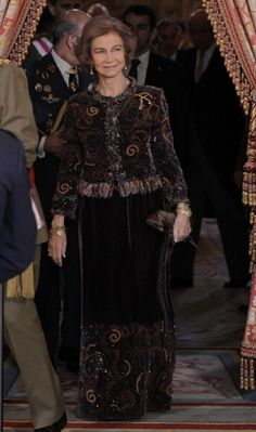 Queen Sofia of Spain attends new year's military parade at Royal Palace on 6 Jan 2013 in Madrid