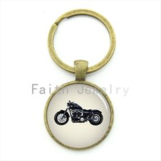 Hip hop cool boys gift motorcycle key chain glass dome motor bicycle picture alloy keychain 2016 fashion men gifts KC323 #Affiliate