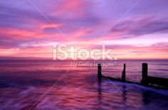 British Beach Sunrise Horsey Norfolk Foto sin derechos de autor