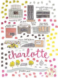 Charlotte Map Print by EvelynHenson on Etsy