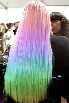 Beautiful young woman with pastel rainbow hair color. Pastel Rainbow Hair, Neon Hair, Coral Hair, Beautiful Hair Color, Cool Hair Color, Hair Colors, Hairstyle Look, Pretty Hairstyles, Rainbow Hairstyles