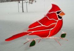 Cardinal - Stained Glass Bird Suncatcher - Large 1224 on Etsy, $38.00