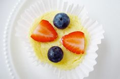 Mini Cheesecake Recipe    (makes 15)  15 vanilla wafer cookies (such as Nilla Wafers)  muffin liners    8 ounce package of Neufchatel cheese  1/2 cup 1% cottage cheese (no salt added)  2 large eggs  1/4 cup sugar  1 tsp vanilla    strawberries and blueberries (optional)