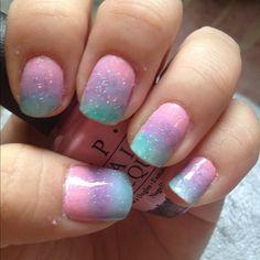 glitter ombré pastel