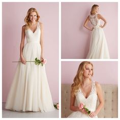 Straps A-line V-neck Wedding Dress with Illusion Back