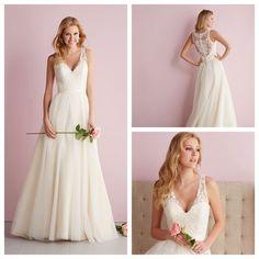 Straps A-line V-neck Wedding Dress with Illusion Back