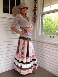 "Eco long boho Skirt clothing upcycled patchwork festival by zasra, $125.00  Another upcoming ite, at ""Sew What"" for 1/2 the price."