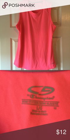Champion bright pink sleeveless top Cute bright pink workout top in excellent condition and only worn twice from a smoke free and dog friendly home. Moisture wicking too! Champion Tops Muscle Tees