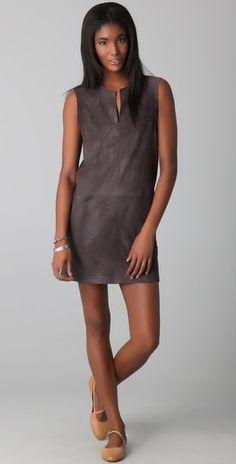 Jenni Kayne V Neck Suede Dress - StyleSays