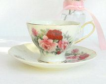 Formalites Baum Bros. Tea Cup and Saucer Set, Cottage Style, Shabby Cottage Roses, Tea Party Set, Weddings, Housewarming Gift