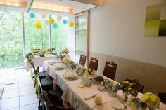 新郎新婦様からのメール 初夏の装花 レストランヒロミチ様へ ひまわりと未来2 の画像:一会 ウエディングの花