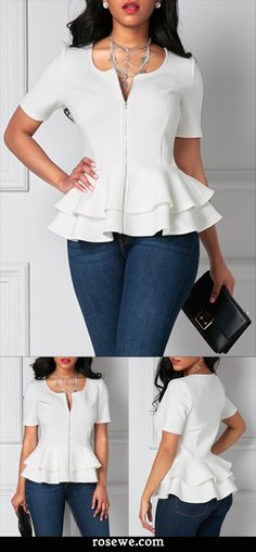 White Zipper Up Flouncing Layered Short Sleeve Blouse , this summer is so lit, its a wise choice to have a white blouse, faster shipping, don't miss it.