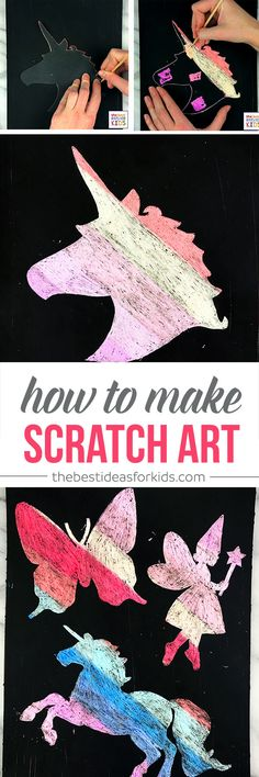 Scratch Art for Kids Craft - this is so much fun! Create silhouette pictures using scratch art! Kids scratch art | Scratch art for Kids | Rainbow Scratch Art | Scratch Art Kids | Scratch Art Designs | Black Scratch Art via @bestideaskids