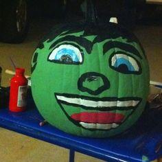Gavin's pumpkin - Hulk from Super Hero Squad Painting Pumpkins, Pumpkin Painting, 3 Person Halloween Costumes, Hair Cut, Hulk, Squad, Christmas Bulbs, Diy Crafts, Holidays