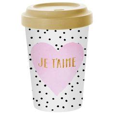 Neu Becher to Go Kaffee Kaffeebecher Deckel Tasse Hellblau Muster Dots Landhaus